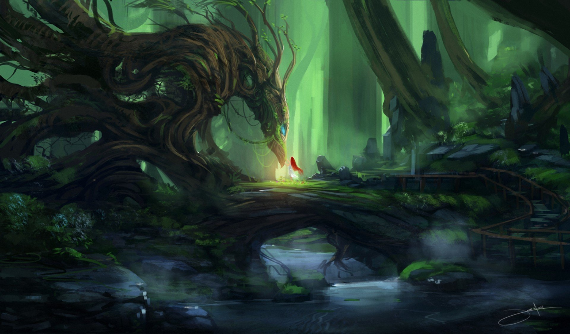 art-blinck-forest-dragon-girl-red-tree-creek-stones-guardian