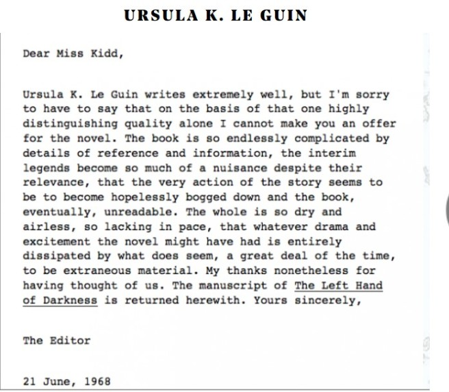 Ursula K Le guin rejection letter