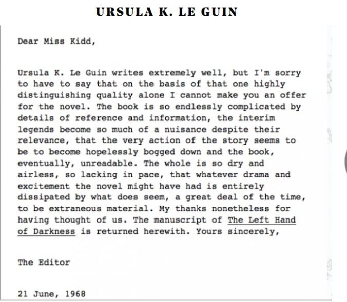Ursula K Le guin rejection letter