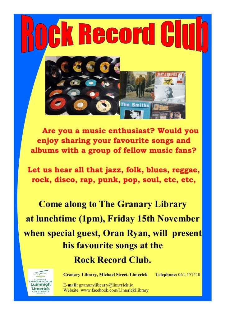 Oran Ryan Presenting the Rock Record CLub, Limerick City library 15/11/2019 at 1 pm
